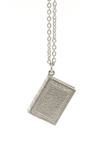 Silver Tiny Book Necklace